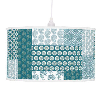 Chic Ethnic Faux Patchwork Pattern, Teal and White Hanging Lamps