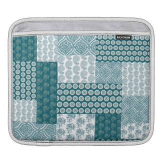 Chic Ethnic Faux Patchwork Pattern, Teal and White iPad Sleeve