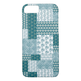 Chic Ethnic Faux Patchwork Pattern, Teal and White iPhone 8/7 Case