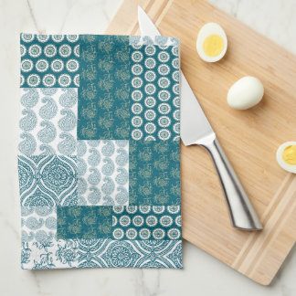 Chic Ethnic Faux Patchwork Pattern, Teal and White Kitchen Towel