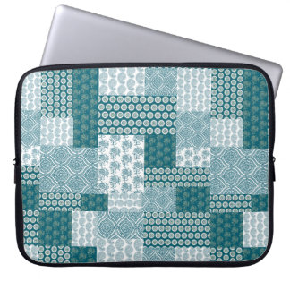 Chic Ethnic Faux Patchwork Pattern, Teal and White Laptop Sleeve