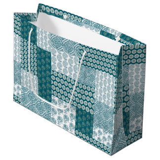 Chic Ethnic Faux Patchwork Pattern, Teal and White Large Gift Bag