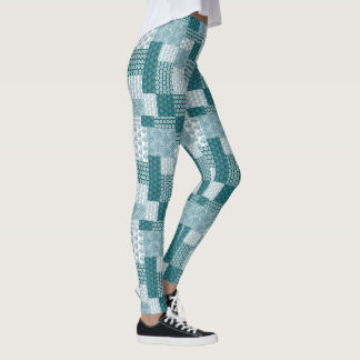 Chic Ethnic Faux Patchwork Pattern, Teal and White Leggings