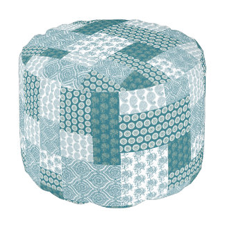 Chic Ethnic Faux Patchwork Pattern, Teal and White Pouf