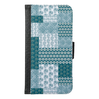 Chic Ethnic Faux Patchwork Pattern, Teal and White Samsung Galaxy S6 Wallet Case