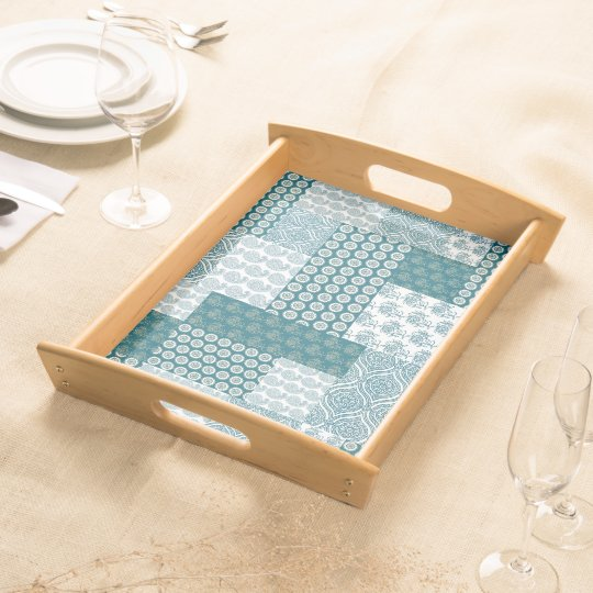 Chic Ethnic Faux Patchwork Pattern, Teal and White Serving Tray
