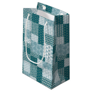 Chic Ethnic Faux Patchwork Pattern, Teal and White Small Gift Bag