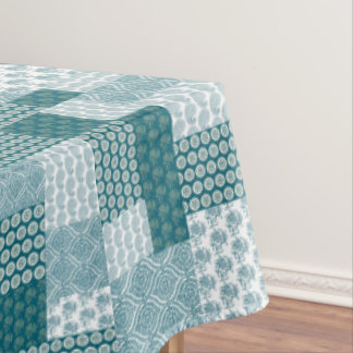 Chic Ethnic Faux Patchwork Pattern, Teal and White Tablecloth