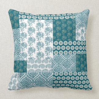 Chic Ethnic Faux Patchwork Pattern, Teal and White Throw Pillow