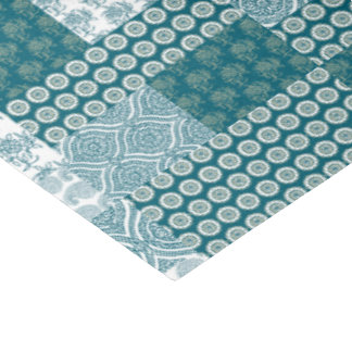 Chic Ethnic Faux Patchwork Pattern, Teal and White Tissue Paper