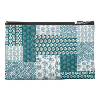 Chic Ethnic Faux Patchwork Pattern, Teal and White Travel Accessories Bag