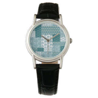 Chic Ethnic Faux Patchwork Pattern, Teal and White Watch