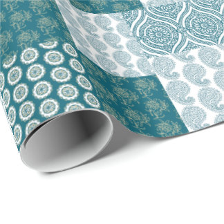 Chic Ethnic Faux Patchwork Pattern, Teal and White Wrapping Paper