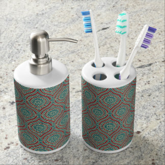 Chic Ethnic Ogee Pattern in Maroon, Teal and Beige Bathroom Set
