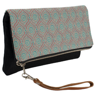 Chic Ethnic Ogee Pattern in Maroon, Teal and Beige Clutch