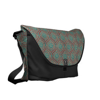 Chic Ethnic Ogee Pattern in Maroon, Teal and Beige Courier Bag