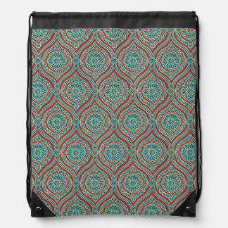 Chic Ethnic Ogee Pattern in Maroon, Teal and Beige Drawstring Bag