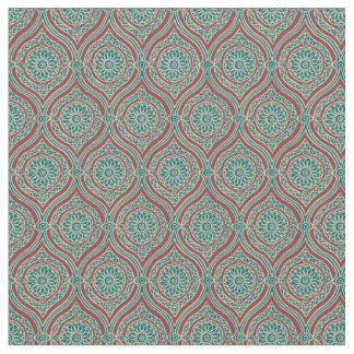 Chic Ethnic Ogee Pattern in Maroon, Teal and Beige Fabric