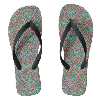 Chic Ethnic Ogee Pattern in Maroon, Teal and Beige Flip Flops