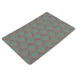 Chic Ethnic Ogee Pattern in Maroon, Teal and Beige Floor Mat