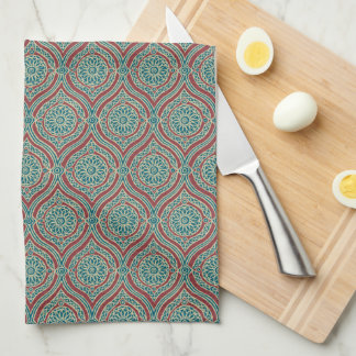 Chic Ethnic Ogee Pattern in Maroon, Teal and Beige Kitchen Towel