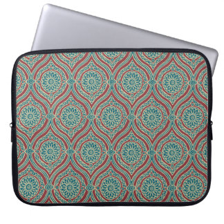 Chic Ethnic Ogee Pattern in Maroon, Teal and Beige Laptop Sleeve