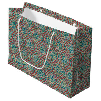 Chic Ethnic Ogee Pattern in Maroon, Teal and Beige Large Gift Bag