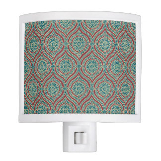 Chic Ethnic Ogee Pattern in Maroon, Teal and Beige Night Light