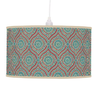 Chic Ethnic Ogee Pattern in Maroon, Teal and Beige Pendant Lamp