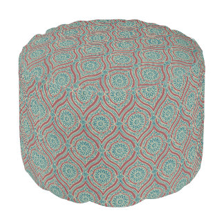 Chic Ethnic Ogee Pattern in Maroon, Teal and Beige Pouf