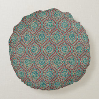 Chic Ethnic Ogee Pattern in Maroon, Teal and Beige Round Pillow