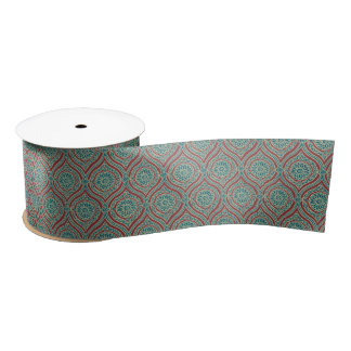 Chic Ethnic Ogee Pattern in Maroon, Teal and Beige Satin Ribbon
