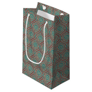 Chic Ethnic Ogee Pattern in Maroon, Teal and Beige Small Gift Bag
