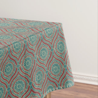 Chic Ethnic Ogee Pattern in Maroon, Teal and Beige Tablecloth
