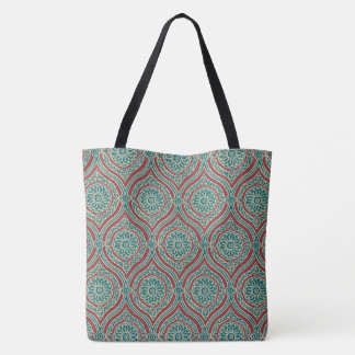 Chic Ethnic Ogee Pattern in Maroon, Teal and Beige Tote Bag