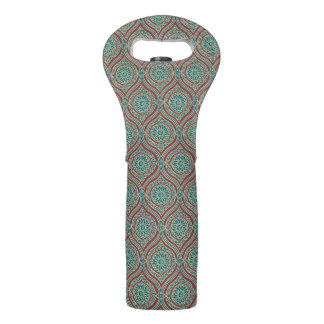 Chic Ethnic Ogee Pattern in Maroon, Teal and Beige Wine Bag