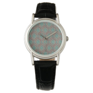 Chic Ethnic Ogee Pattern in Maroon, Teal and Beige Wrist Watch