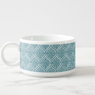 Chic Ethnic Ogee Pattern in Teal on White Bowl