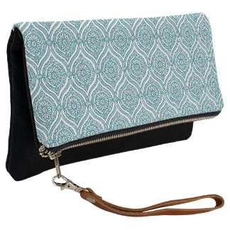Chic Ethnic Ogee Pattern in Teal on White Clutch