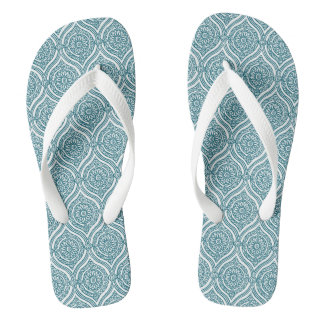 Chic Ethnic Ogee Pattern in Teal on White Flip Flops