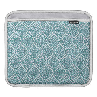 Chic Ethnic Ogee Pattern in Teal on White iPad Sleeve