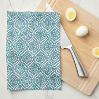Chic Ethnic Ogee Pattern in Teal on White Kitchen Towel