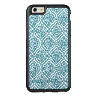 Chic Ethnic Ogee Pattern in Teal on White OtterBox iPhone 6/6s Plus Case