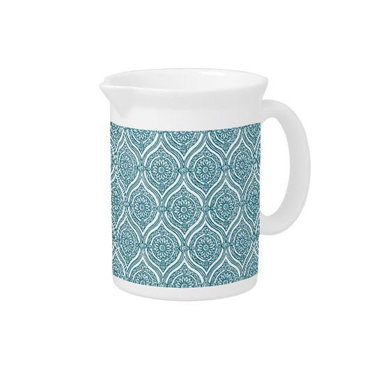 Chic Ethnic Ogee Pattern in Teal on White Pitcher