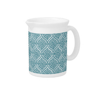 Chic Ethnic Ogee Pattern in Teal on White Pitchers