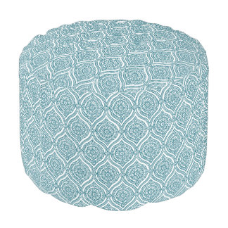 Chic Ethnic Ogee Pattern in Teal on White Pouf