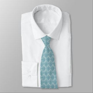Chic Ethnic Ogee Pattern in Teal on White Tie
