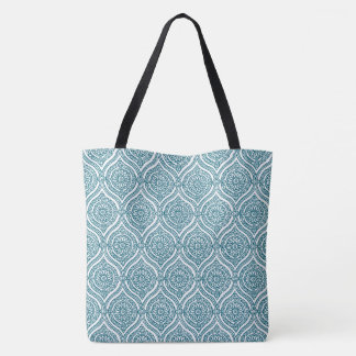 Chic Ethnic Ogee Pattern in Teal on White Tote Bag
