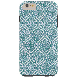 Chic Ethnic Ogee Pattern in Teal on White Tough iPhone 6 Plus Case