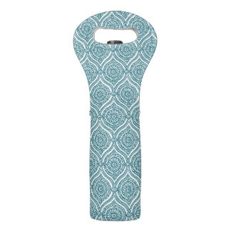 Chic Ethnic Ogee Pattern in Teal on White Wine Bag